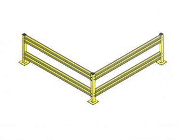 Double Rail Impact Barrier - Corner - 20 ft.