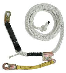 Vertical Lifeline Assembly w/ 3 Strand White Polydac Rope