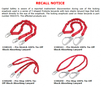 Protecta Lanyard Recall - Information and Product Substitution