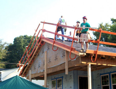 Fall Protection Railing for Volunteer Residential Roofing Projects