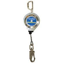 """Guardian Connector - 3/16"""" Galvanized Cable Retractable Lifeline w/ Swivel Top, Swivel Snap Hook, Carabiner & Tag line"""