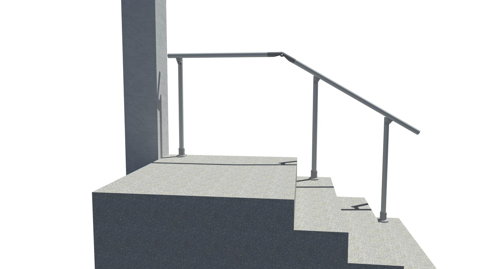 4 Step Handrail Kits : Surface landing l mount railing all step