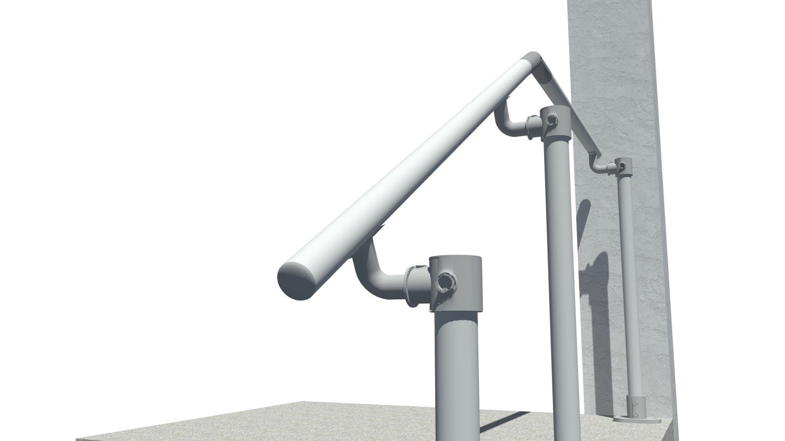 4 Step Handrail Kits : Surface landing mount railing simplified