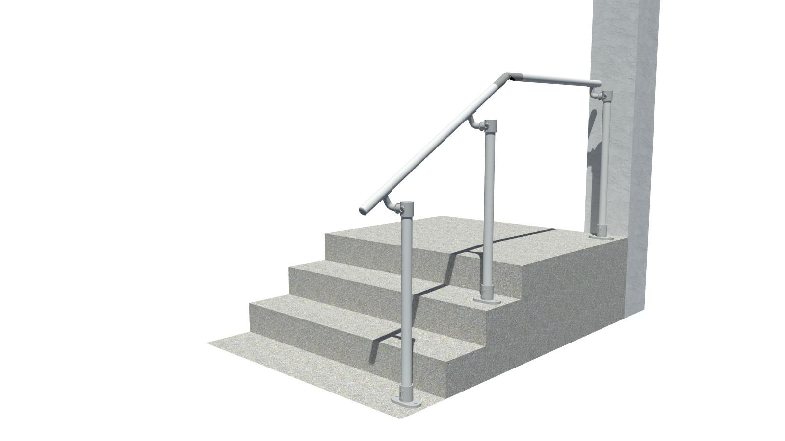 4 Step Handrail Kits : Surface landing mount railing all step