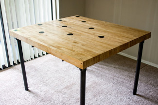 DIY Reclaimed Bowling Alley Table (Built with Pipe & Fittings)