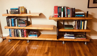 DIY Industrial Pipe Bookcase with Bowling Alley Lane Shelves