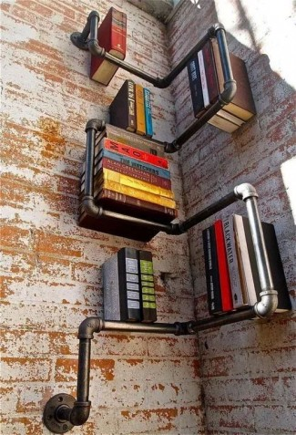 40+ DIY Corner Shelf Ideas Built with Industrial Pipe
