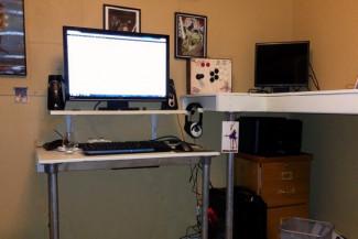 Built-in Dual Height Computer Desk