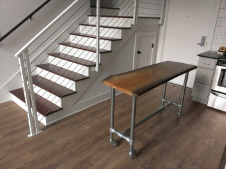 DIY Rolling Kitchen Island with Live Edge Table Top