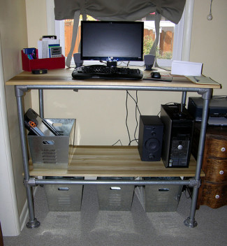 Computer Standing Desk with Adjustable Shelf Storage