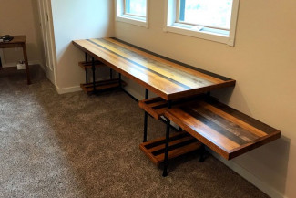 DIY Industrial Pipe Desk with Adjustable Shelves