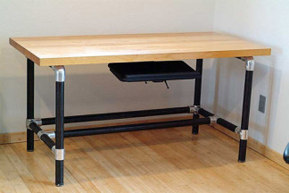 massive u shaped butcher block work bench with matching shelf