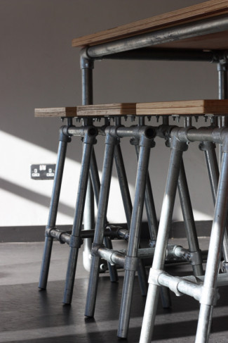 Industrial Stools, Benches and Tables at Famous Dublin Coffee Bar