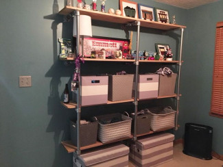 DIY Wall Mounted Pipe Shelf with Matching Convertible Bunk Bed