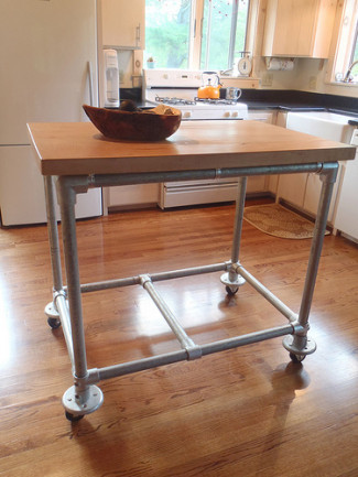 Pipe & Butcher Block Rolling Kitchen Island