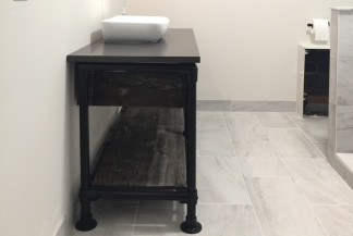 DIY Rustic Bathroom Vanity Built with Pipe & Kee Klamp