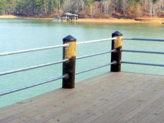 Pipe Railing Between Wooden Posts