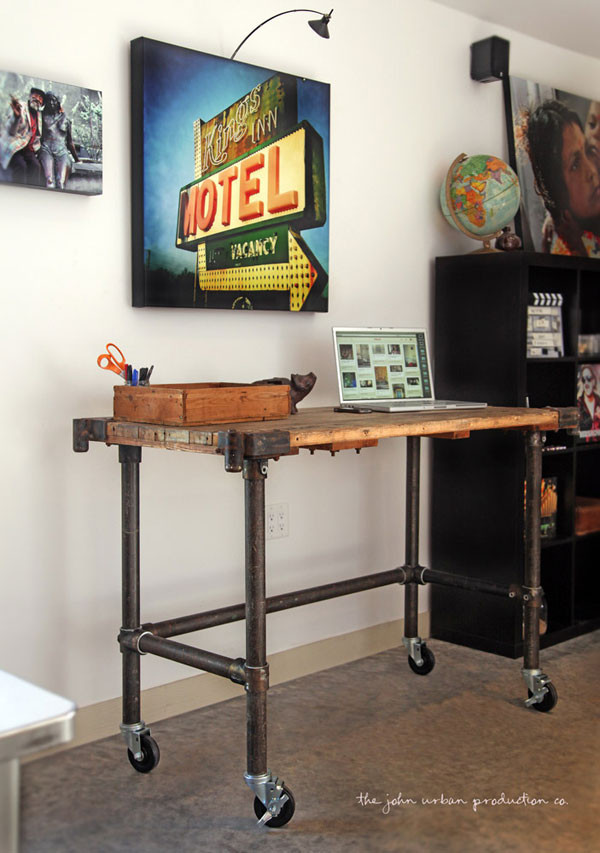 Rolling Pipe Table With Antiqued Metal Effect Simplified