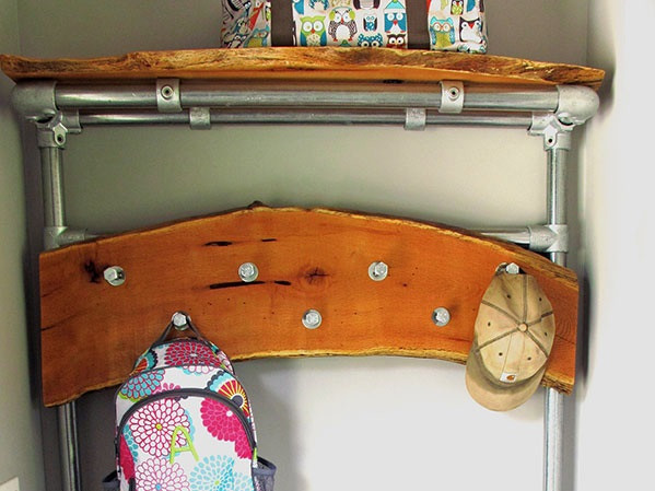 DIY Entryway Bench with Coat Rack