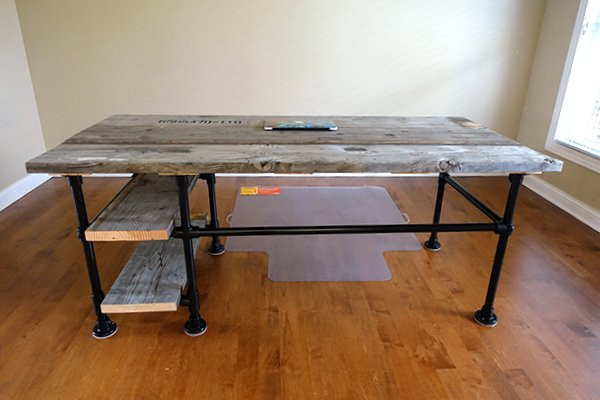 Pipe Desk with Side Shelves