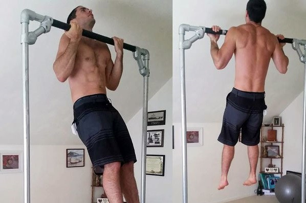 Diy free standing pull up bar simplified building for Homemade pull up bar galvanized pipe