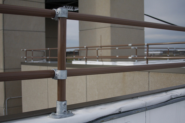Rooftop Parapet Offset Pipe Railing Example Installation