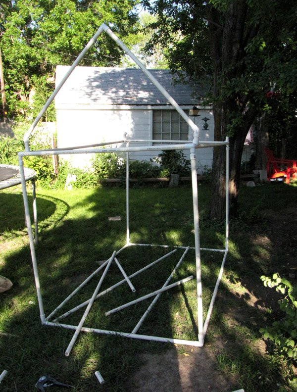Kids playhouse made with pvc pipe and fittings projects for Pvc playhouse kit