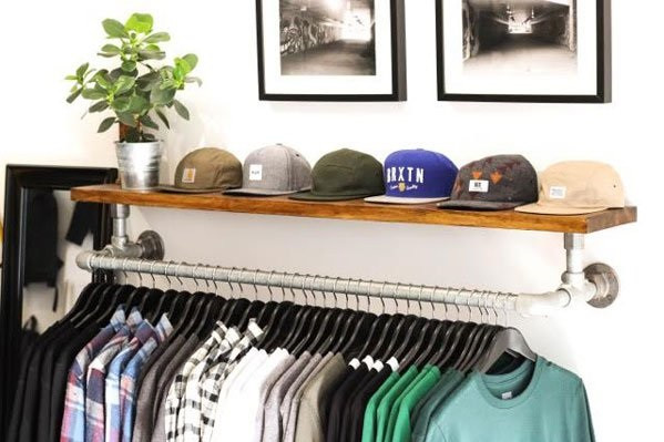 diy wall mounted clothing rack with top shelf simplified building. Black Bedroom Furniture Sets. Home Design Ideas