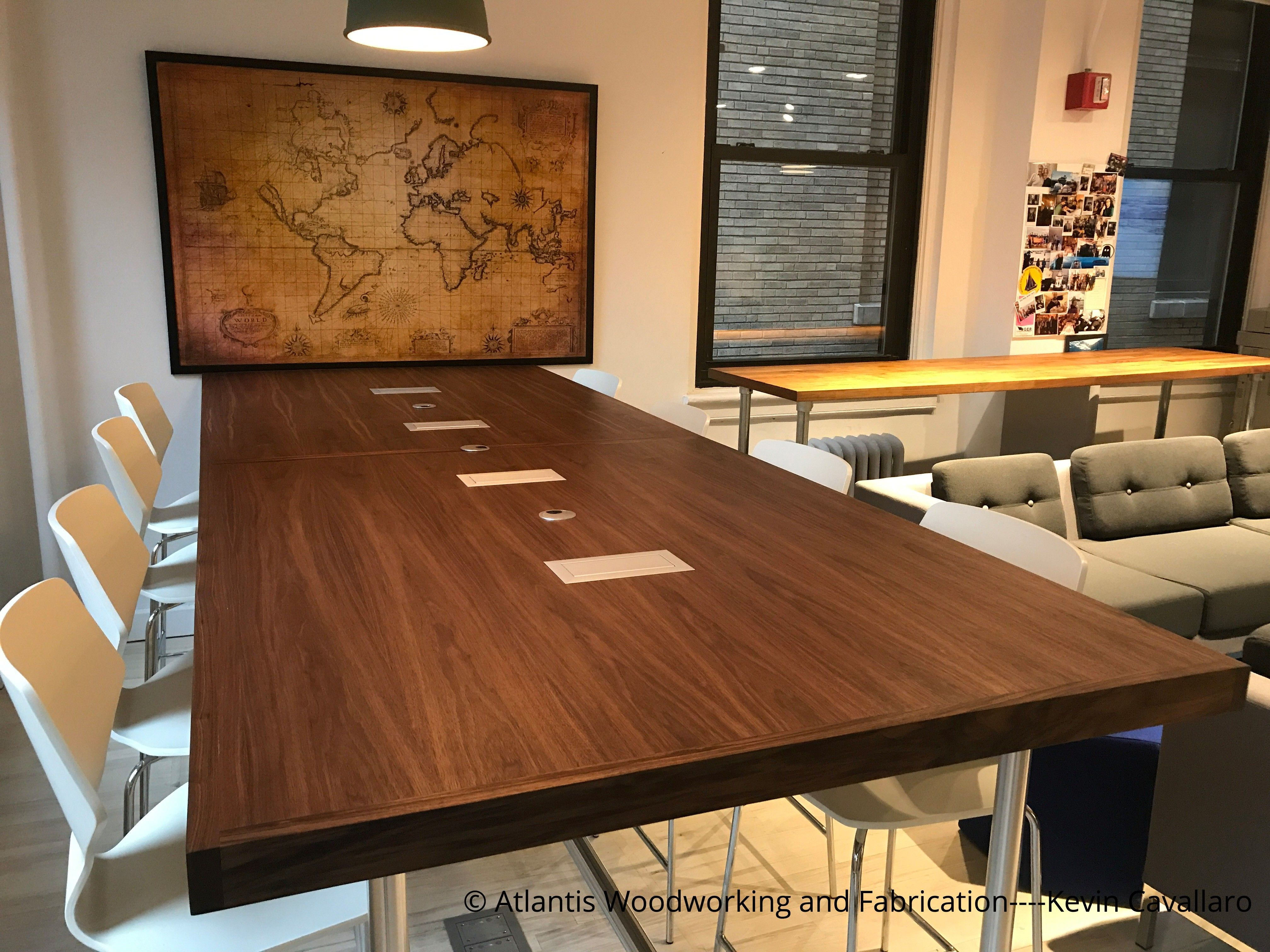 Custom Wood Conference Table Built With Pipe Fittings