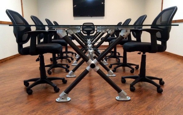 Modern Pipe And Glass Conference Table Simplified Building