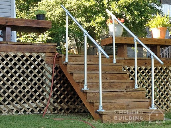 Portable Handrails For Steps Outside : Simple sturdy exterior stair railing simplified building