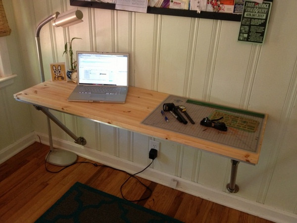 Wall Mounted Desk with Angled Supports | Simplified Building